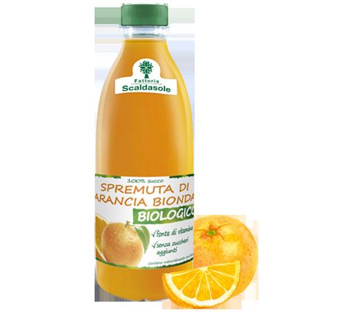 Bottiglia da 750ml di spremuta di arancia bionda biologica Scaldasole